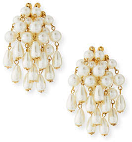 Lele Sadoughi Faux-Pearl Beaded Statement Cluster Earrings