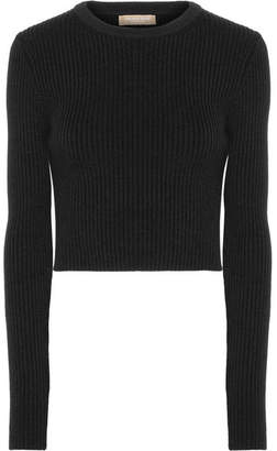 Michael Kors Collection - Cropped Ribbed Wool-blend Sweater - Black