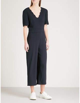 Claudie Pierlot Scalloped-trim crepe jumpsuit