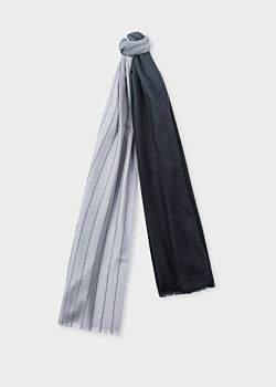 Paul Smith Men's Black And Grey Dip-Dye Stripe Cashmere-Blend Scarf