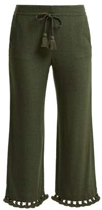 Figue Felipe Tassel Hem Silk Blend Trousers - Womens - Khaki