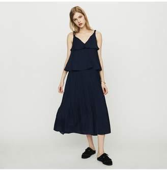 Maje Long Satin Pleated Dress