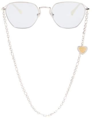 Linda Farrow X Alessandra Rich Square Frame Sunglasses - Womens - Blue