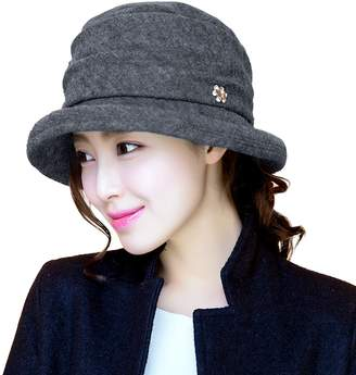Siggi Womens Black Vintage Wool Felt Cloche Bucket Hat Winter Fall Packable 289c191e2a26
