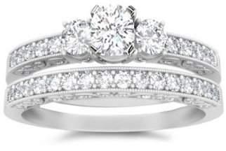 FineTresor 1.00 Carat Round Cut Diamond Three Stone Wedding Set on 14K White Gold