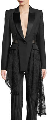 Alexander McQueen Notched-Collar One-Button Lace & Wool Jacket