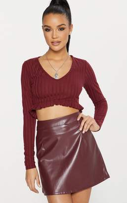 PrettyLittleThing Maroon Faux Leather A Line Mini Skirt