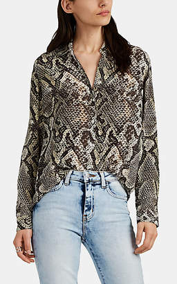 L'Agence Women's Nina Snake-Print Silk Button-Front Blouse