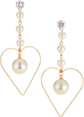 Natasha Accessories Limited Heart With Faux-Pearl Drop Earrings