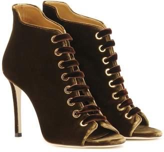 Jimmy Choo Mavy 100 peep-toe velvet ankle boots
