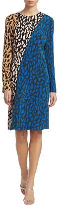 Diane von Furstenberg Women's Colorblock Leopard-Print Shift Dress