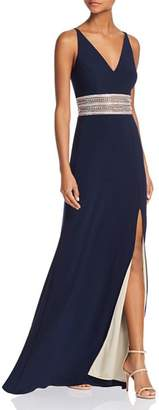 Avery G Embellished-Waist Gown