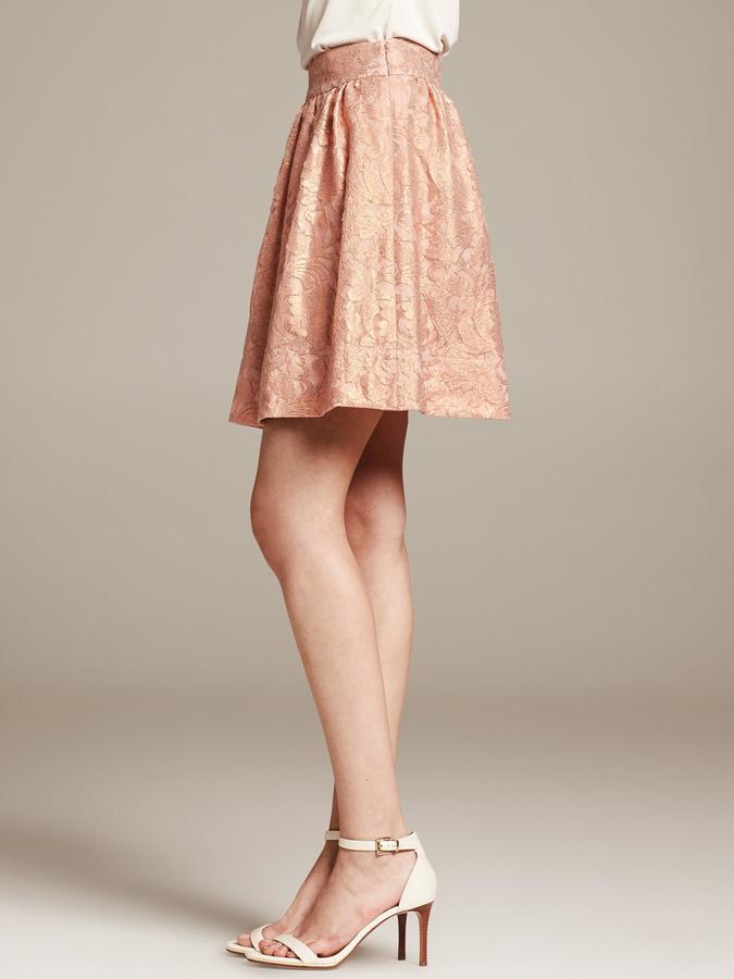 Banana Republic BR Monogram Metallic Lace Full Skirt
