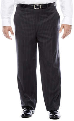 STAFFORD Stafford Super 100 Charcoal Chalk-Stripe Flat-Front Wool Suit Pants - Portly