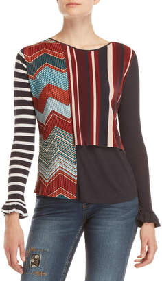 Desigual Mixed Pattern Top