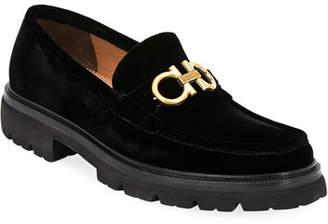 Salvatore Ferragamo Men's Bleecker Lug-Sole Velvet Loafers with Reversible Bit