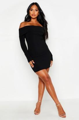 0229cdeafa2b boohoo Scuba Rib Double Layer Bardot Mini Dress