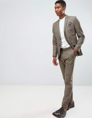 Selected Slim Fit Suit PANTS In Brown Check