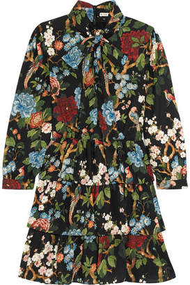 Alice + Olivia Alice Olivia - Breann Tiered Floral-print Satin-crepe Dress - Black
