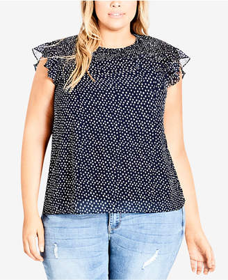 City Chic Trendy Plus Size Smocked Top