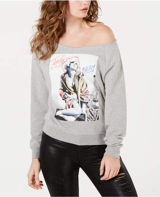 GUESS 1981 Off-The-Shoulder Graphic Sweatshirt