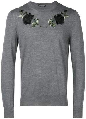 Alexander McQueen rose-embroidered sweater