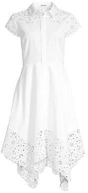 Elie Tahari Women's Jane Lace Detail Cotton Poplin Dress - Size 0