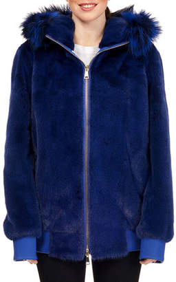 Maurizio Braschi Mink Fur Zip-Front Hooded Jacket with Fox Fur Trim, Royal Blue