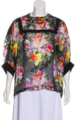 Preen Line Long Sleeve Devoré Blouse