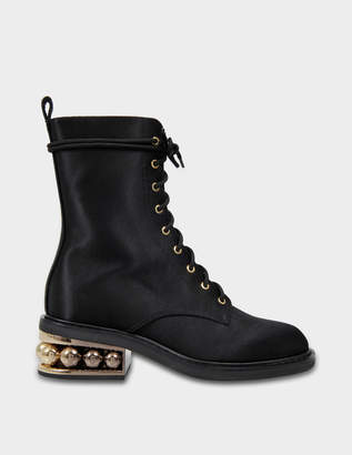Nicholas Kirkwood 35Mm Casati Pearl Combat Boots in Black Cotton and Viscose