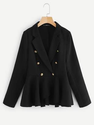 Shein Double Breasted Wrap Notch Neck Coat