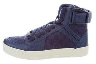 Gucci Leather Guccissima High-Top Sneakers w/ Tags
