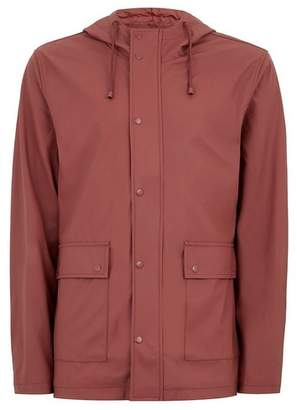 Topman Mens Red Showerproof Rubberised Jacket
