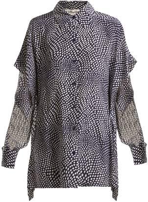 Diane von Furstenberg Dot-print sheer-sleeve silk crepe de Chine shirt