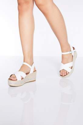 Quiz Womens Faux Leather Chain Detail Wedge Sandals - White