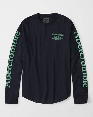 Abercrombie & Fitch Long-Sleeve Logo Curved Hem Tee