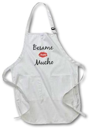 3dRose besame mucho kiss me in Spanish picture of red lips on white back, Full Length Apron, 22 by 30-inch, White, With Pockets