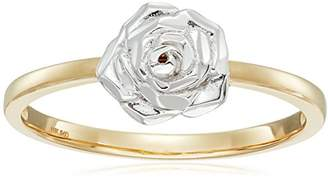 14k White Gold Flower Ring with Yellow Gold Ring