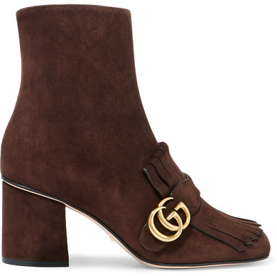Gucci - Fringed Suede Ankle Boots - Chocolate