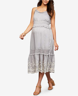 A Pea in the Pod Maternity Embroidered Midi Dress