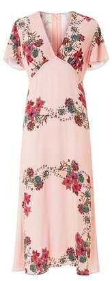 Sandro Botanical Midi Dress