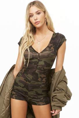 Forever 21 Camo Mock Button Romper