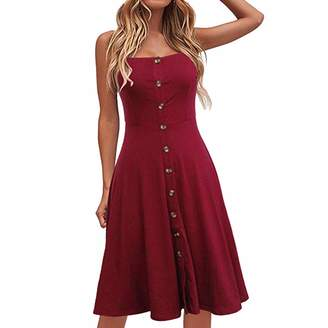 319fe58259 Sunhusing Ladies Solid Color Sexy Strapless Sleeveless Button-Down  Waist-Tie Long Dress Casual