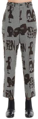 Comme des Garcons Printed Faces Checkered Pants