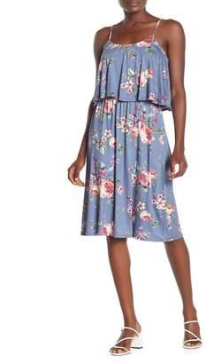 Lush Spaghetti Strap Popover Floral Print Midi Dress