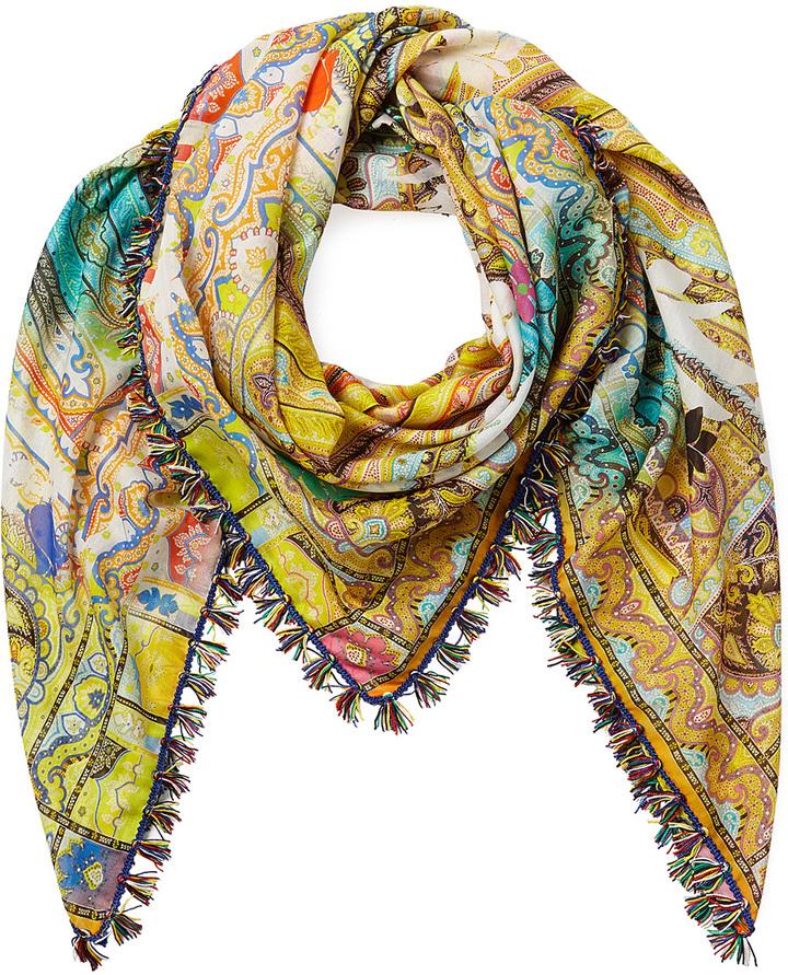 Etro Paisley Print Cotton-Silk Scarf