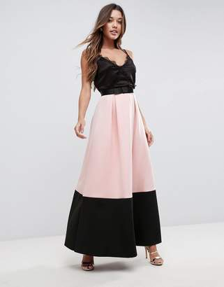 Asos Scuba Maxi Skirt With Colourblock Detail