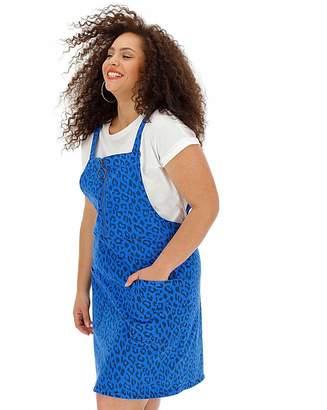 Fashion World Blue Leopard Zip Denim Pinafore Dress