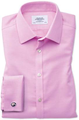 Charles Tyrwhitt Classic Fit Non-Iron Square Weave Pink Cotton Dress Shirt French Cuff Size 15.5/34