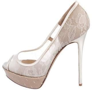 Valentino Lace Peep-Toe Pumps
